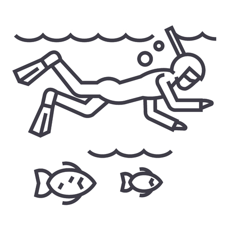 diving in the sea with fish,scuba,snorkeling vector line icon, sign, illustration on white background, editable strokes Ilustração