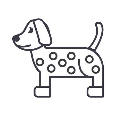 dog, dalmatian vector line icon, sign, illustration on white background, editable strokes Illustration