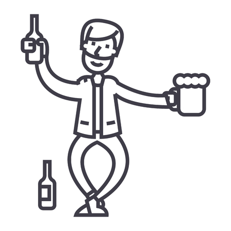 drunk man vector line icon, sign, illustration on white background, editable strokes