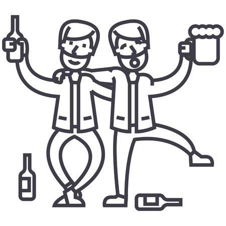 Betrunkene Leute, betrunkene Partei, zwei Männer, die Vektorlinie Ikone, Zeichen, Illustration auf weißem Hintergrund, editable Anschläge trinken Standard-Bild - 87222054