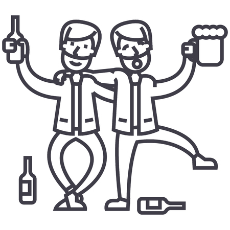 drunk people,drunk party,two men drinking vector line icon, sign, illustration on white background, editable strokes