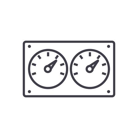 dubbele controle meter vector lijn pictogram, teken, illustratie op witte achtergrond, bewerkbare lijnen