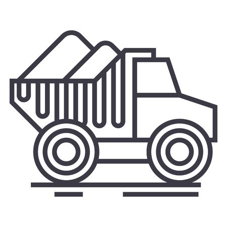 kipwagen vrachtwagen met zand vector lijn pictogram, teken, illustratie op witte achtergrond, bewerkbare lijnen Stock Illustratie
