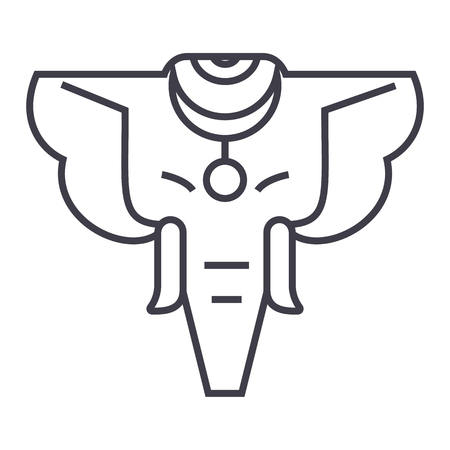 elephant vector line icon, sign, illustration on white background, editable strokes Illustration