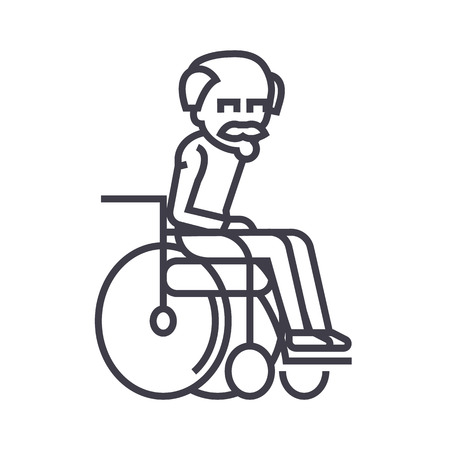 elder man,grandfather vector line icon, sign, illustration on white background, editable strokes Stock Vector - 87222072