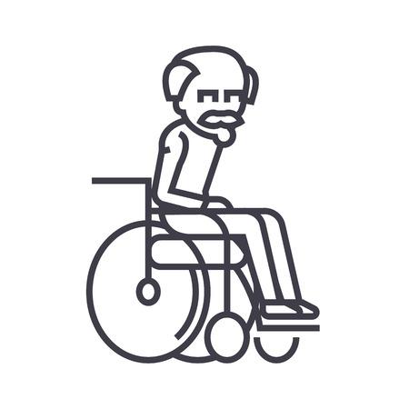 elder man,grandfather vector line icon, sign, illustration on white background, editable strokes Illustration