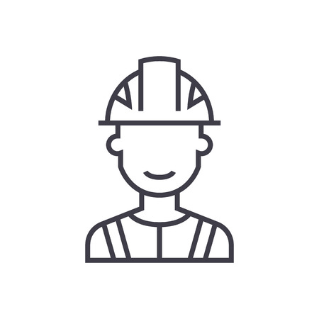 engineer, industry vector line icon, sign, illustration on white background, editable strokes