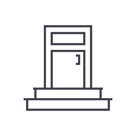 entrance, door vector line icon, sign, illustration on white background, editable strokes