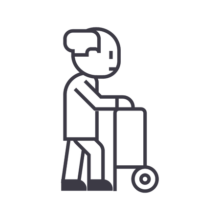 elderly person with beard and walking stick vector line icon, sign, illustration on white background, editable strokes
