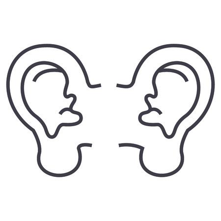 Icône de vecteur oreille ligne, signe, illustration sur fond blanc, traits modifiables Banque d'images - 87222098