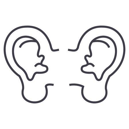 ear vector line icon, sign, illustration on white background, editable strokes