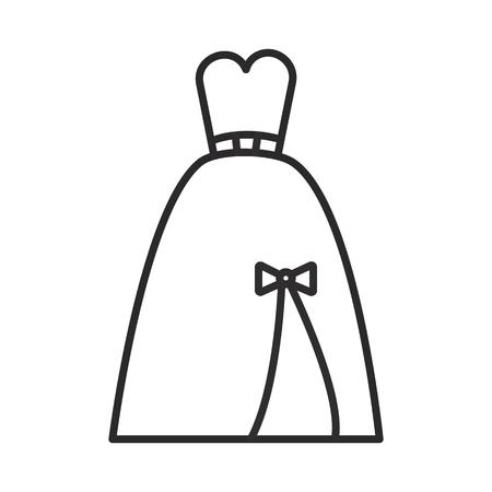 저녁 신부 드레스 벡터 라인 아이콘, 기호, 흰색 배경에 그림 편집 가능한 획 벡터 (일러스트)