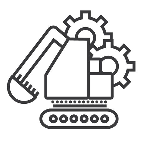 excavator vector line icon, sign, illustration on white background, editable strokes