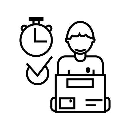 express delivery,courier service,order box vector line icon, sign, illustration on white background, editable strokes Illustration