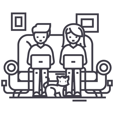 girl laptop: family at sofa working on laptops with cat vector line icon, sign, illustration on white background, editable strokes Illustration