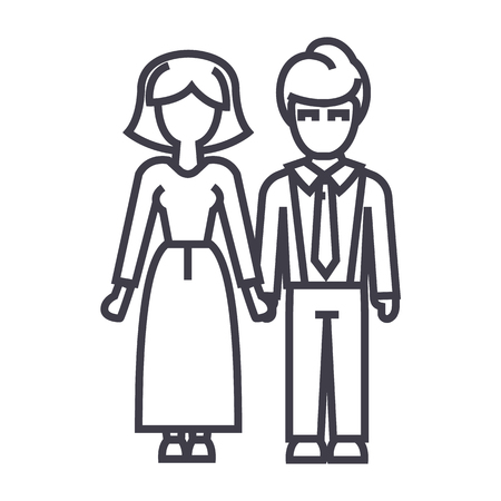 family,woman and man vector line icon, sign, illustration on white background, editable strokes Illustration