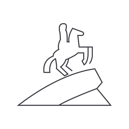 equestrian horse statue vector line icon, sign, illustration on white background, editable strokes