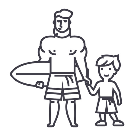 father with son on vacation with surfing board vector line icon, sign, illustration on white background, editable strokes Illustration