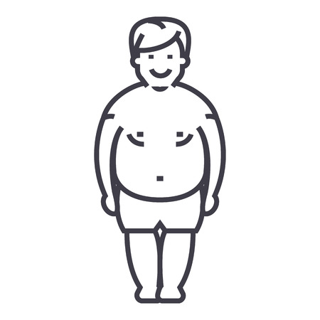 fatty man,fat guy vector line icon, sign, illustration on white background, editable strokes