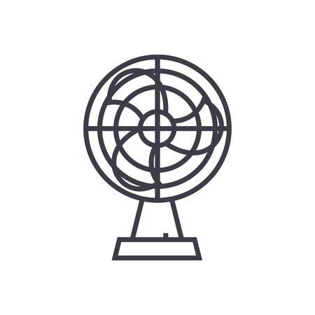 fan illustration vector line icon, sign, illustration on white background, editable strokes