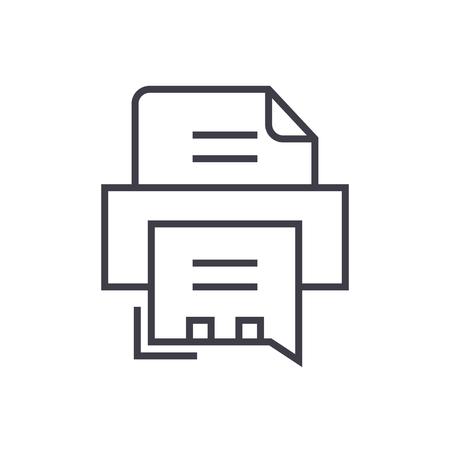 fax プリンター ベクトル線アイコン、記号、白い背景に、編集可能なストロークの図