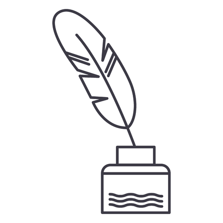 feather with writing ink,literature vector line icon, sign, illustration on white background, editable strokes Иллюстрация