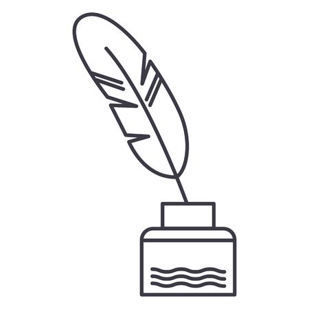 Plume avec encre d'écriture, icône de ligne de littérature vecteur, signe, illustration sur fond blanc, traits modifiables Banque d'images - 87222135