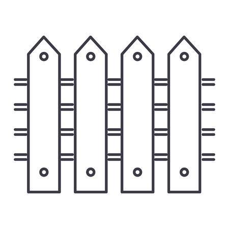 울타리 벡터 선 아이콘, 기호, 흰색 배경에 그림 편집 가능한 획