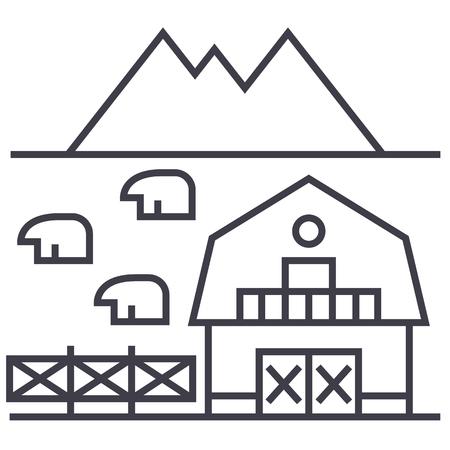 Bauernhof in der Toskana Vektor Liniensymbol, Zeichen, Illustration auf weißem Hintergrund, editierbare Striche Standard-Bild - 87222138