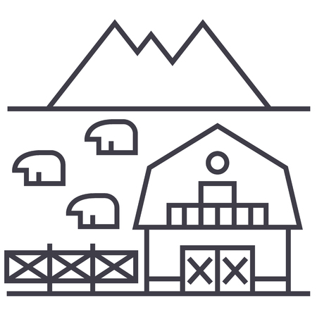 farm in tuscany vector line icon, sign, illustration on white background, editable strokes