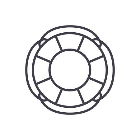 finance lifebuoy vector line icon, sign, illustration on white background, editable strokes Illustration