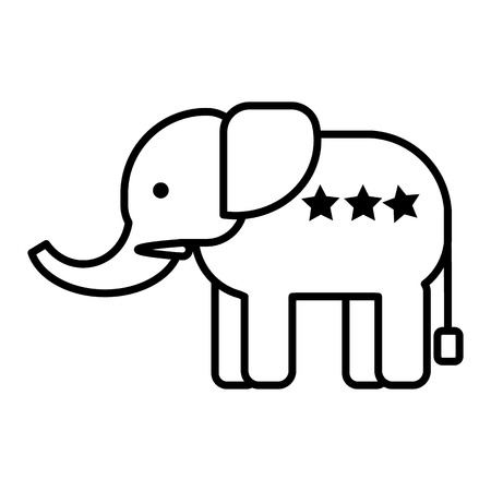 elephant head vector line icon, sign, illustration on white background, editable strokes Иллюстрация