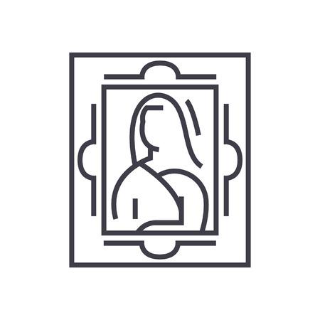 美術、絵画ベクトル線アイコン、記号、白い背景に、編集可能なストロークの図  イラスト・ベクター素材