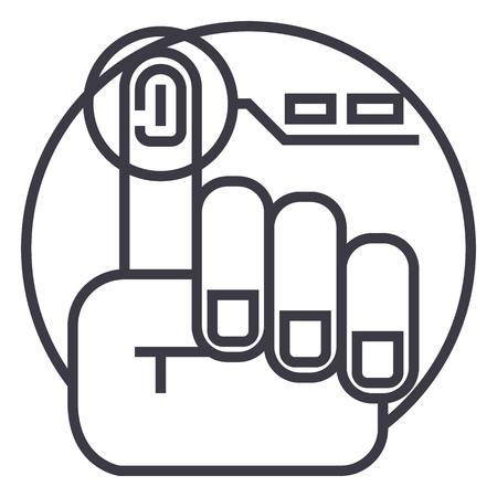 finger print vector line icon, sign, illustration on white background, editable strokes