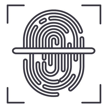 finger scanner vector line icon, sign, illustration on white background, editable strokes