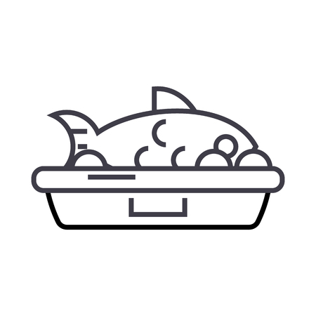 fish food vector line icon, sign, illustration on white background, editable strokes