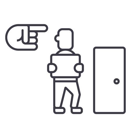 終了、解雇、解雇ベクトル線アイコン、記号、白い背景に、編集可能なストロークの図  イラスト・ベクター素材