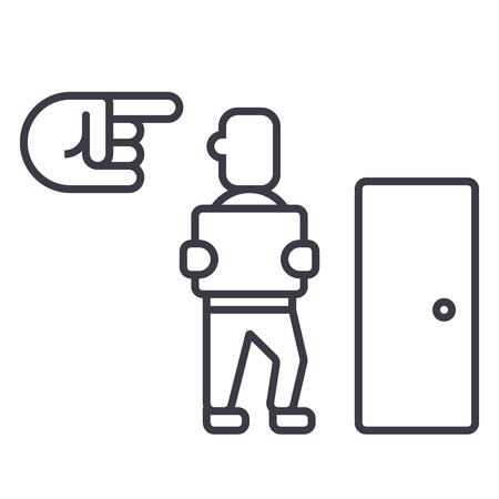 fired,exit,dismissal vector line icon, sign, illustration on white background, editable strokes Иллюстрация