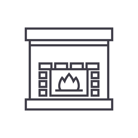 fireplace,hearth vector line icon, sign, illustration on white background, editable strokes