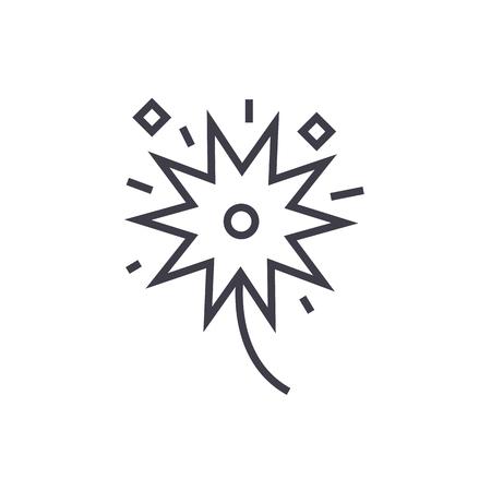 fireworks vector line icon, sign, illustration on white background, editable strokes