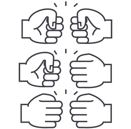 주먹 범프 벡터 라인 아이콘, 기호, 흰색 배경에 그림 편집 가능한 획