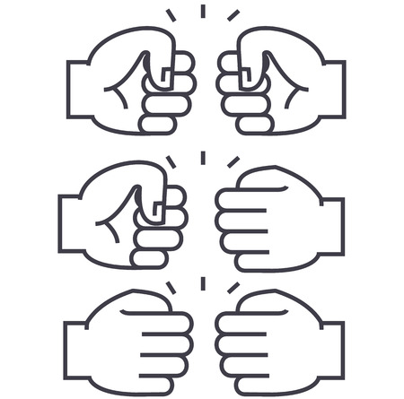 fist bump vector line icon, sign, illustration on white background, editable strokes