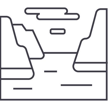 フィヨルド ベクトル線アイコン、記号、白い背景に、編集可能なストロークの図  イラスト・ベクター素材