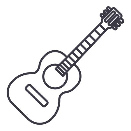 Flamenco gitaar illustratie vector lijn pictogram, teken, illustratie op witte achtergrond, bewerkbare lijnen