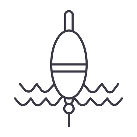 float fishing vector line icon, sign, illustration on white background, editable strokes Illustration