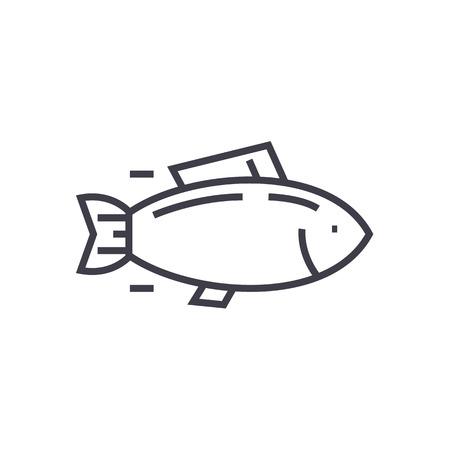 魚、マグロ ベクトル線のアイコン, サイン, 白い背景に、編集可能なストロークの図  イラスト・ベクター素材