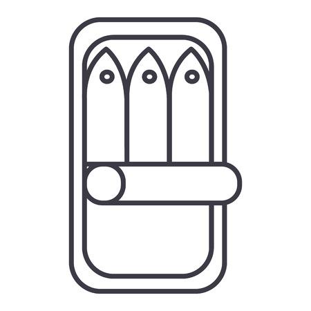fish preserves vector line icon, sign, illustration on white background, editable strokes Illustration