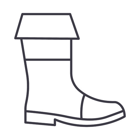 fishing boots vector line icon, sign, illustration on white background, editable strokes Stock Vector - 87222193