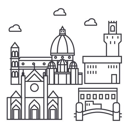 피렌체 이탈리아 벡터 라인 아이콘, 기호, 흰색 배경에 그림 편집 가능한 획