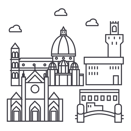 florence italy vector line icon, sign, illustration on white background, editable strokes